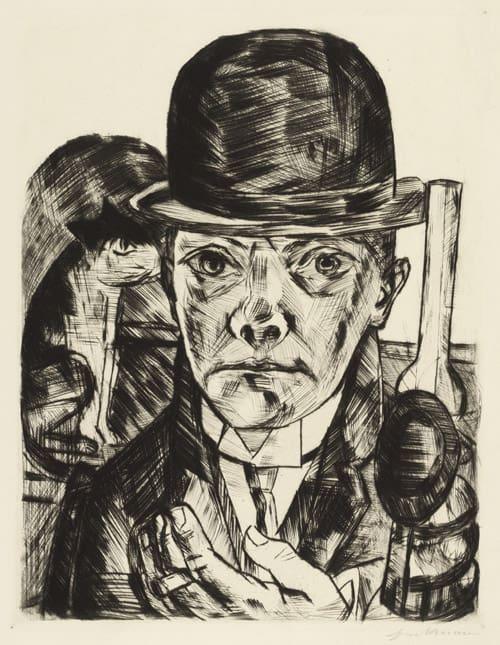 Max Beckmann, Selbstbildnis mit steifem Hut, 1921, 53.7 x 41.9 cm, éd. de 50 (©ARS) Estampe, lithogravure, gravure, eau-forte, gravure sur bois