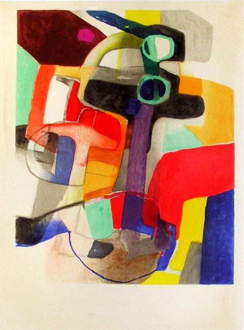 Maurice Estève, Péribule, 1957, 49 x 68 cm, éd. de 1000 (©Champetier) Estampe, lithographie, gravure sur bois, eau-forte, art