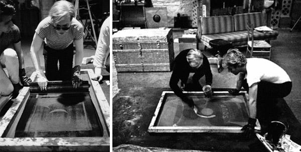 Andy Warhol réalisant une sérigraphie