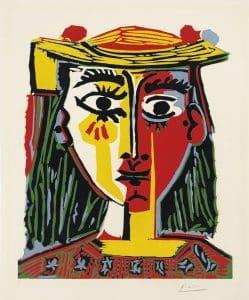 Picasso, Buste de femme au chapeau, 1962, 63,5 x 52,5 cm, éd. de 50 (© Christie's)