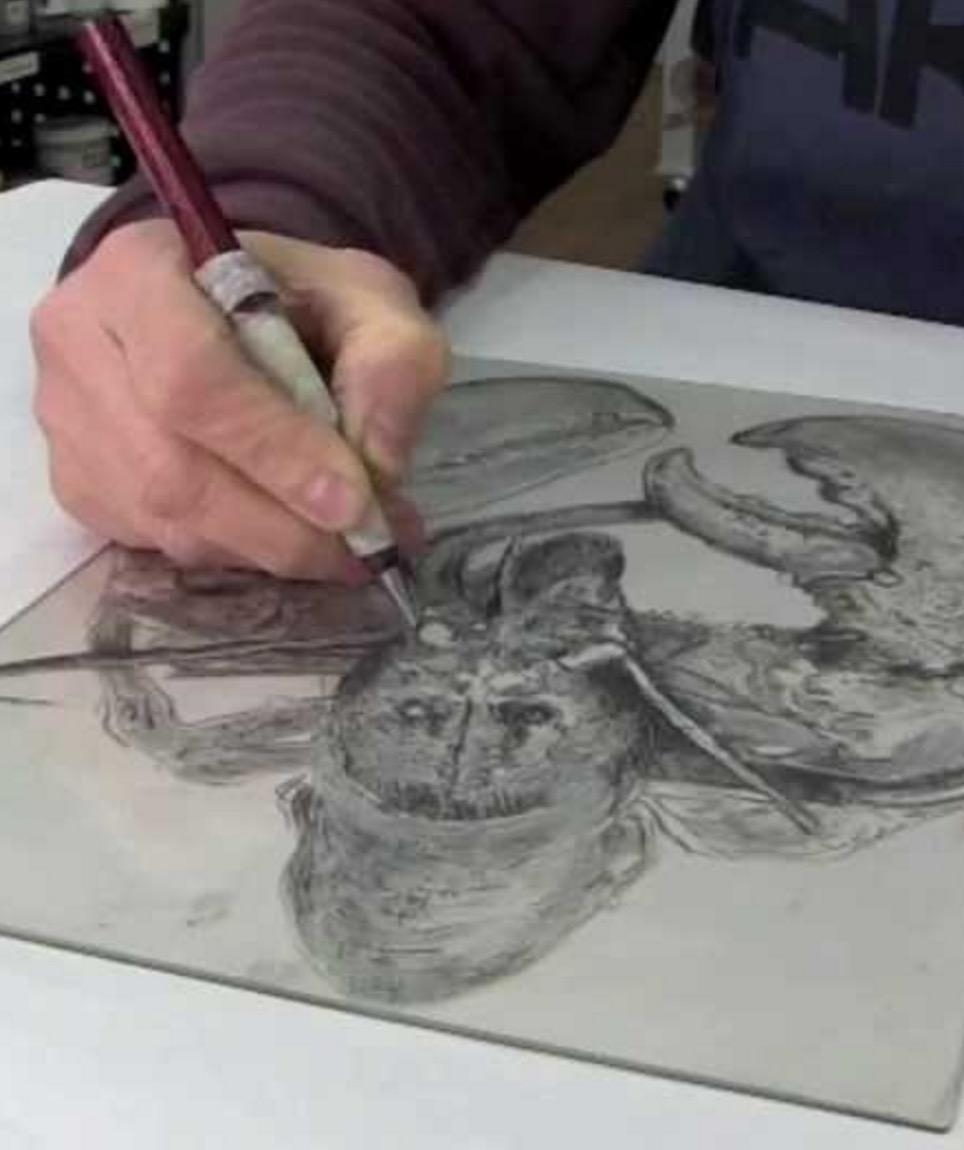 Drypoint etching (© Aqua Inks)