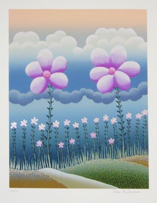 Estampe, lithographie, gravure sur bois, eau-forte, art Ivan Rabuzin, Two Flowers, 60 x 50 cm, éd. de 150 (© Bertrand)