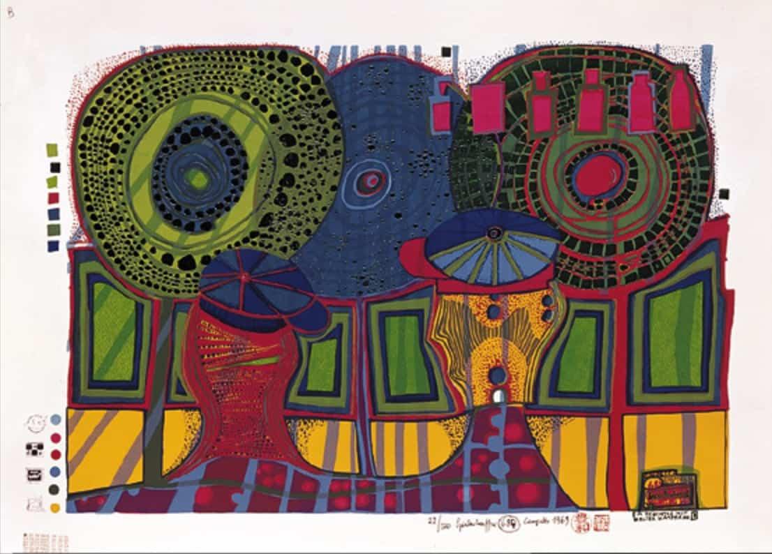 Hundertwasser sérigraphie estampe valeur œuvre d'art