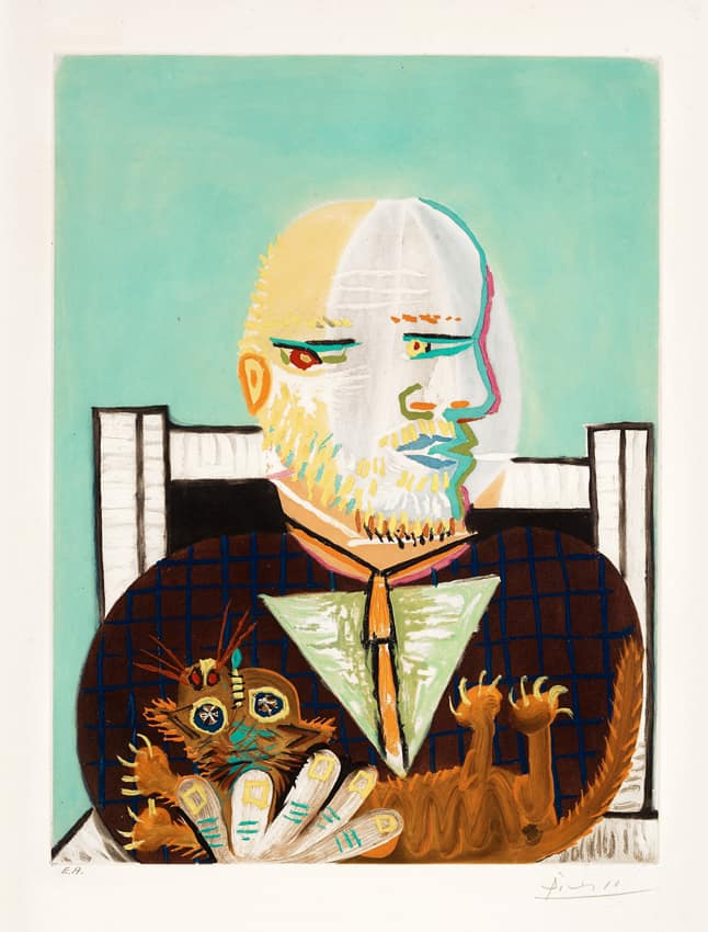 picasso pablo vollard et son chat estampe hampel