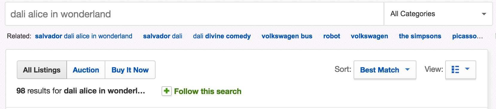 ebay recherche Dali Alice in wonderland