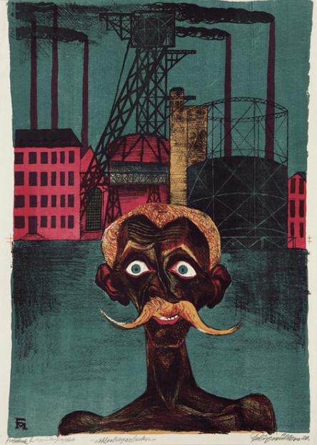 Kohlenbergarbeiter (Mineur de charbon),Farblithographie, Probedrück (épreuve), Söhn 211, 56x38 cm, 1920, 120 000€