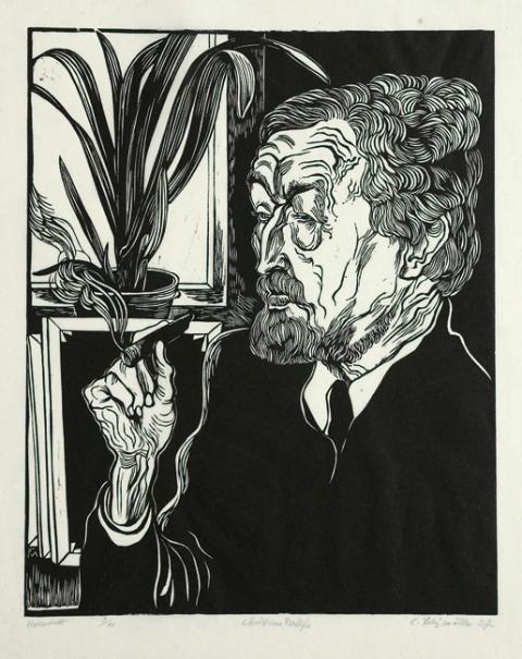Portrait de Christian Rohlfs, Gravure bois sur Japon, Söhn 370 b, 49x39 cm, 1927, 2800€