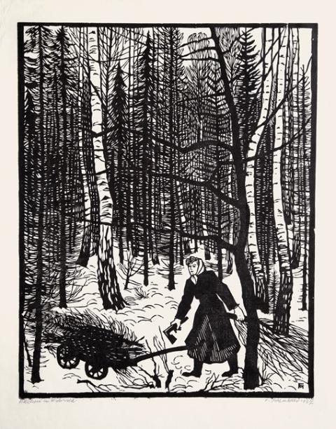 Image Holzlesen im Winterwald, Gravure bois sur Japon, Söhn 550 b, 50x40mm, 1957, 1600€
