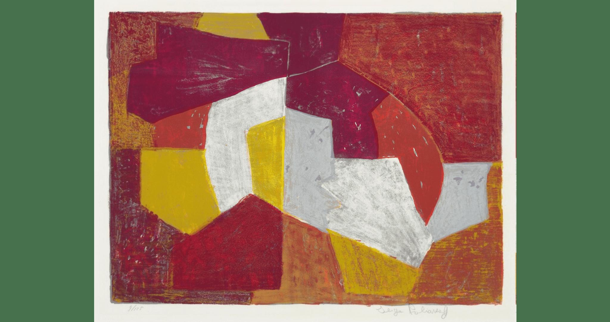 Composition carmin, brune, jaune et grise, lithographie, 1956. 50×66 cm, éd. de 125