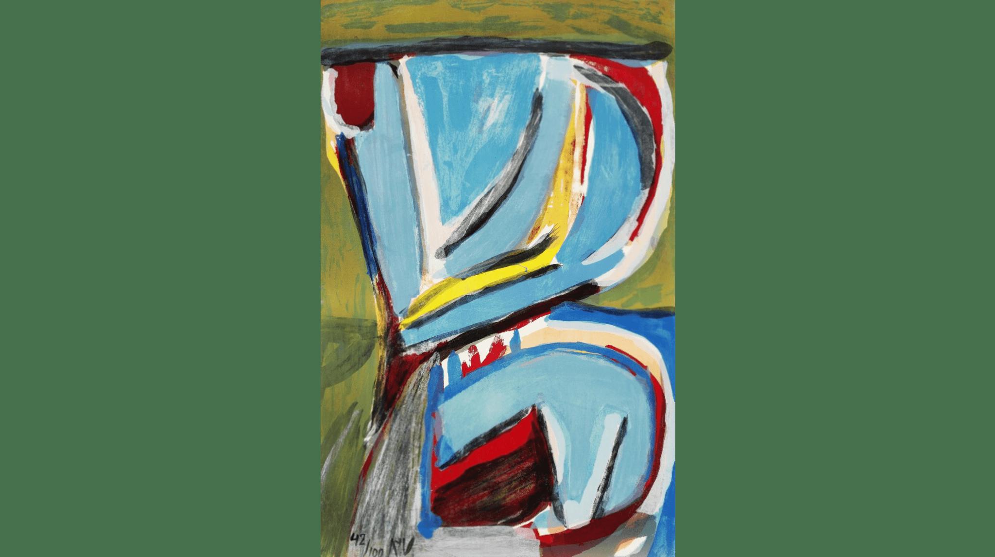 Composition, lithographie 1975. 98×62 cm, éd. de 100.
