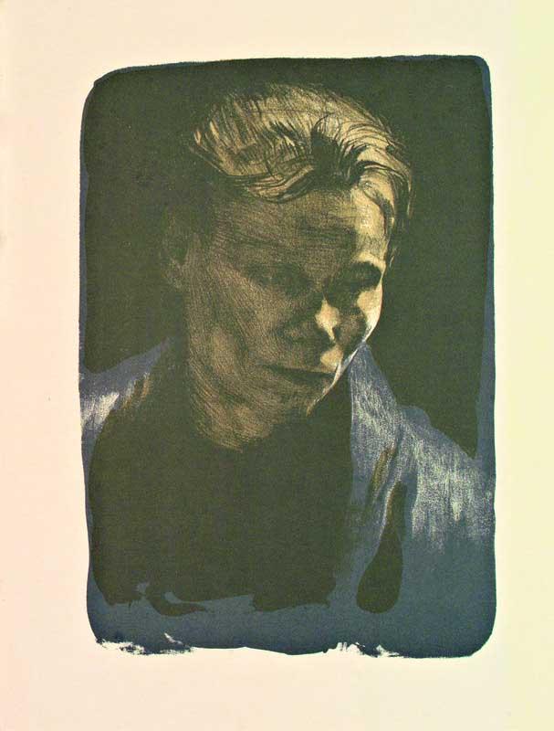 Brustbild einer Arbeiterfrau mit blauem Tuch, lithographie, 1903, 35x24. éd. de 100