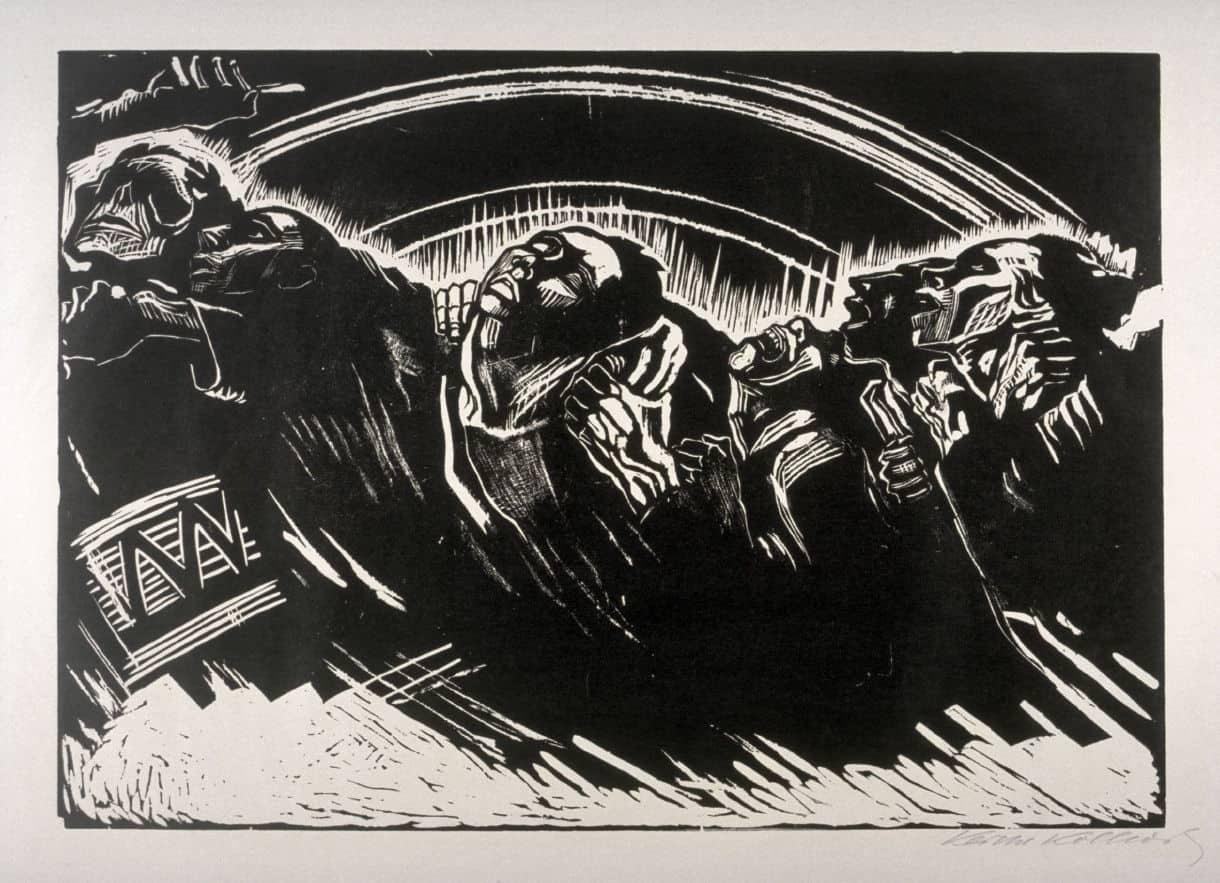 """Die Freiwilligen (Les volontaires), tirée du portfolio """"La guerre"""", gravure sur bois, 1922, 34x49."""