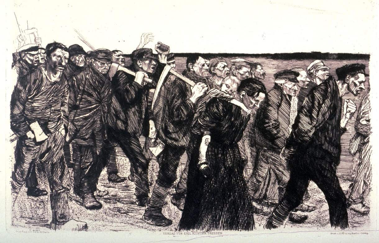 Weberzug (Marche des tisserands) tirée du cycle Weberaustand (Révolte des tisserands), gravure, 1897, 21x29