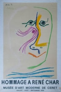 Affiche Picasso Lithographie Hommage à René Char