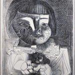 Paloma et sa Poupée sur Fond Noir, lithographie, 1952