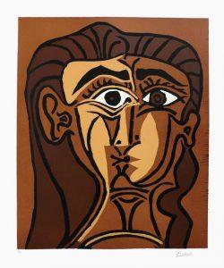 Portrait de Jacqueline de face. II, linogravure, 1962