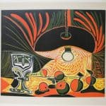 Nature Morte au Verre sous La Lampe, linogravure, 1962