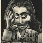 Jacqueline Lisant, linogravure, 1964