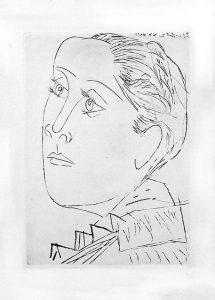 Portrait de Dora Maar au Chignon, gravure, 1936