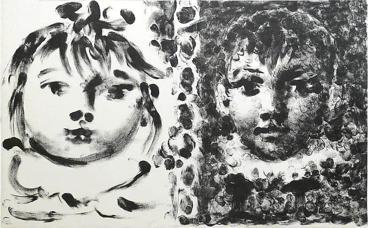 Paloma et Claude, 1950, lithographie