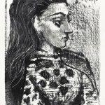 Buste au Corsage à Carreaux, lithographie, 1958