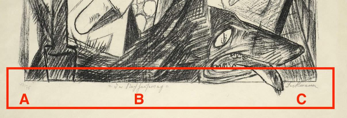 Zoom sur le bas d'une estampe de Max Beckmann