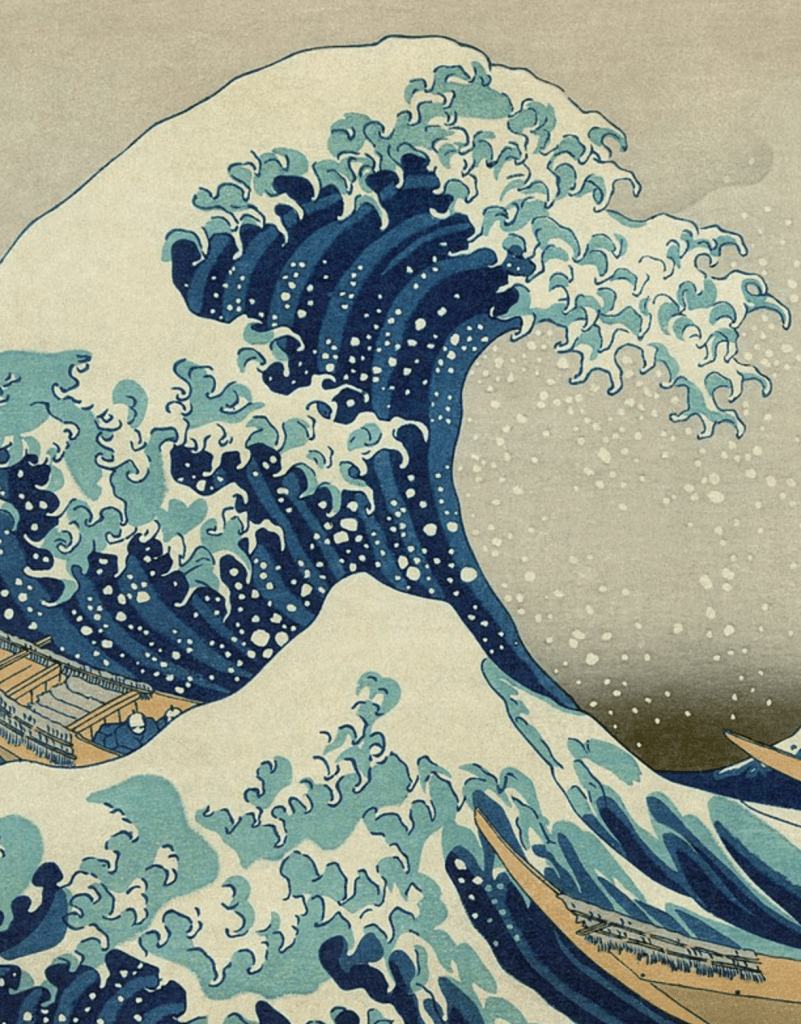 Détail de la Grande Vague, l'estampe iconique d'Hokusai