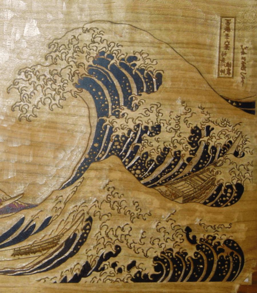 Grande Vague d'Hokusai, détail du bois gravé