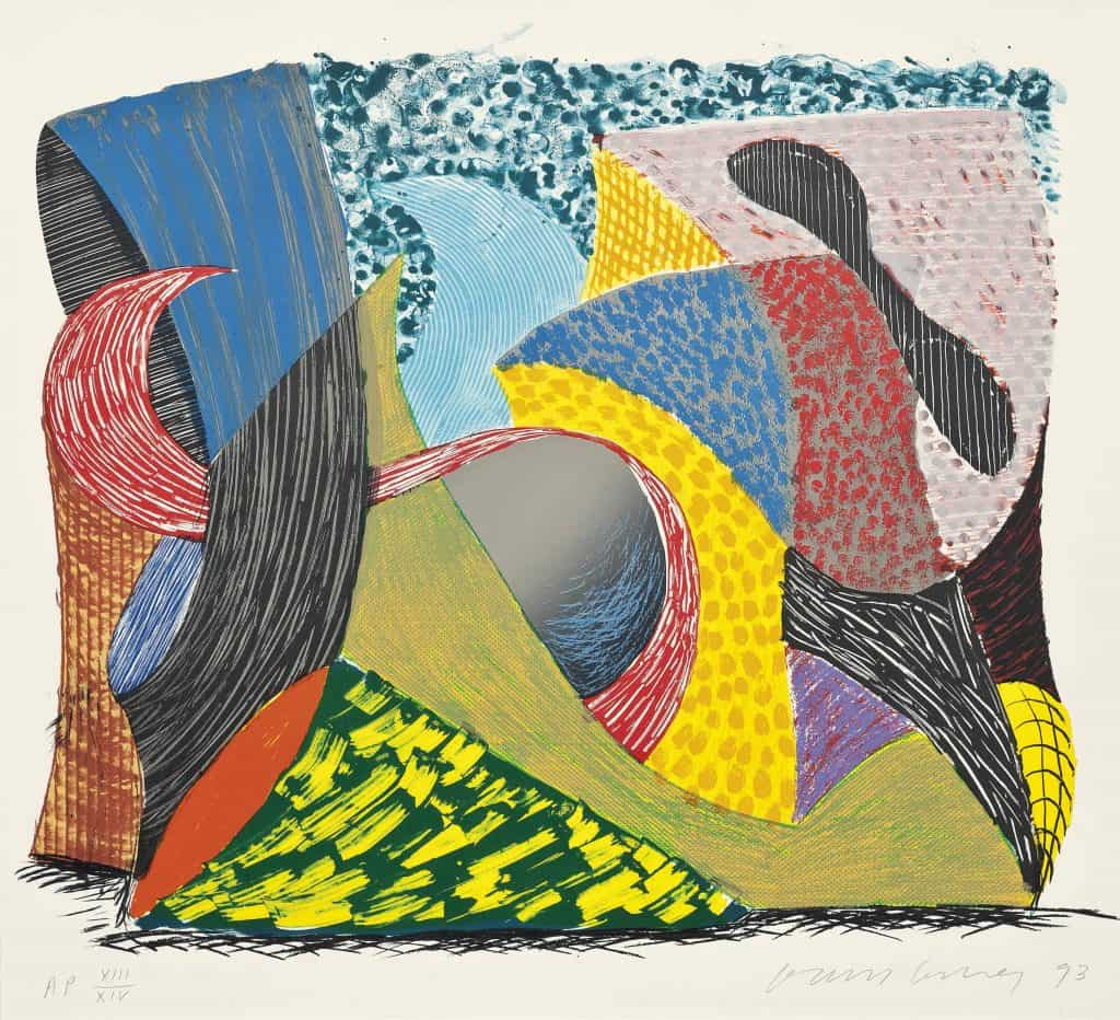 David Hockney Going Out, from: Some New Prints lithograph and screenprint in colours, 1993, Courtesy Christie s
