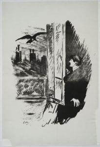 Edgar Allan Poe. Le corbeau. Traduction française de Stéphane Mallarmé, avec des illustrations d'Edouard Manet. Lithographie. Paris: Richard Lesclide, 1875. Courtesy The New York Public Library.