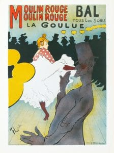 Toulouse Lautrec, La goulue, reproduction d'une lithographie originale en 1967. Courtesy Galerie M. Champetier