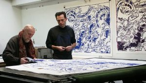 Franck Bordas et Pierre Alechinsky à l'atelier de la Bastille , 2006 photo Ianna Andréadis