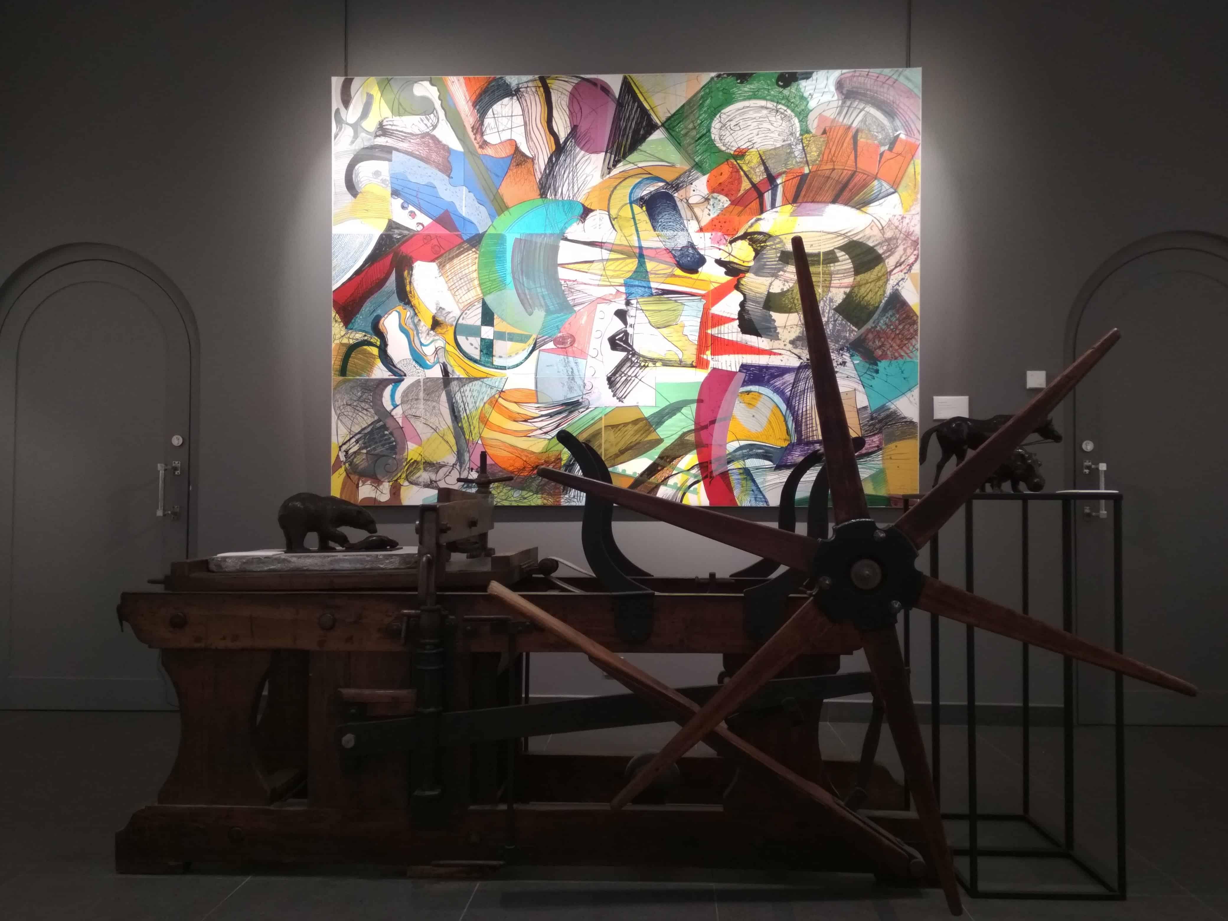 La plus grande lithographie du monde devant une presse, exposée au centre d'art Cristel de Saint-Malo